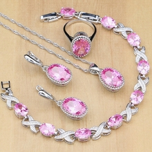 925 Sterling Silver Jewelry Sets Pink Cubic Zirconia Earrings For Women Pendant Rings Bracelet With Stone Necklace Set