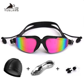 Berufs Schwimmen Brille Schwimmen Cap Fall Nase Clip Silikon Anti-fog UV Multicolor Erwachsene Schwimmen sport brille Set