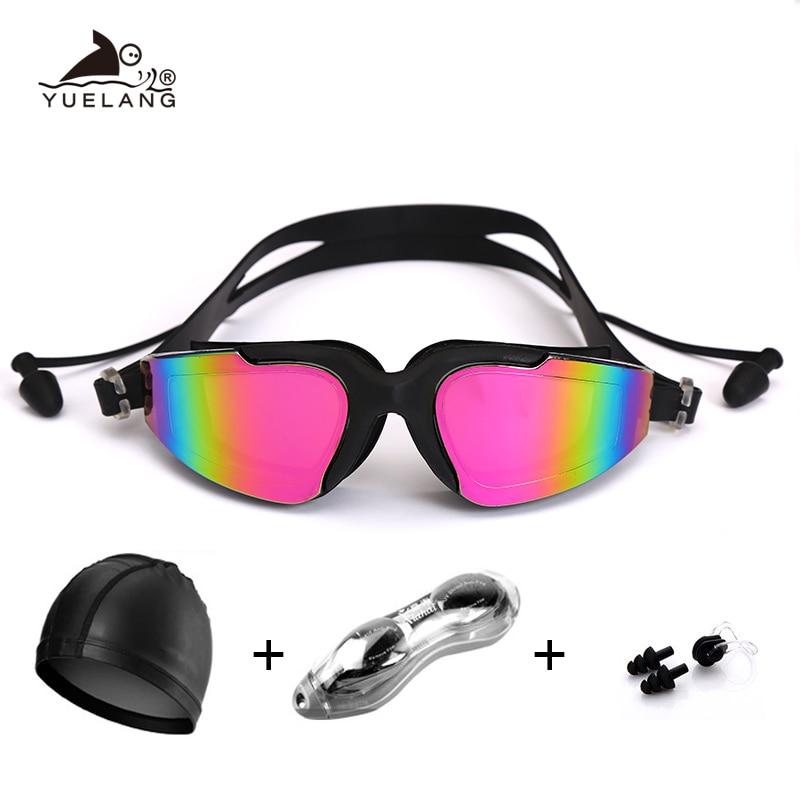Professional Swimming Goggles Swimming Cap  Case  Nose Clip Silicone Anti-fog UV Multicolor Adult Swimming Sports Goggles Set
