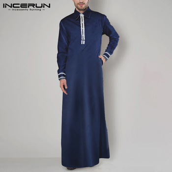 Men Muslim Kaftan Elegant Long Sleeve Patchwork Saudi Arabia Mens Jubba Thobe Lapel Fashion Abaya Islamic Robes S-5XL INCERUN
