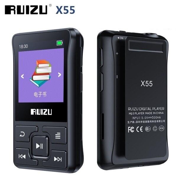 أحدث مشغل Ruizu X55 رياضي مزود بالبلوتوث ومشغل MP3 مشبك صغير محمول سعة 8 جيجابايت مشغل موسيقى MP3 يدعم FM وتسجيل وكتاب إلكتروني وساعة وعداد خطي