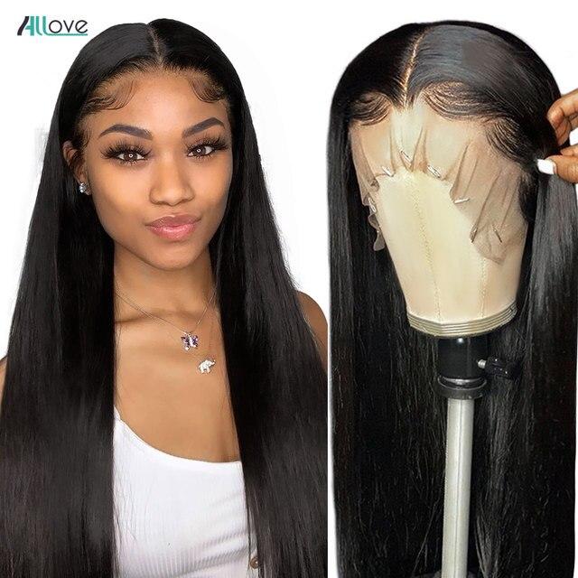 Парик Allove 30 дюймов на сетке спереди, прямые парики из человеческих волос для женщин, предварительно выщипанные прозрачные парики на сетке, бразильский парик из прямых волос