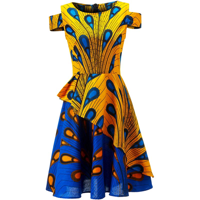 African Dresses For Women Batik Print Strapless Dress Ankara Dresses African Dashiki Traditional Clothing