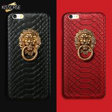 KISSCASE Lion Ring Holder Case For iPhone 6 6S 7 8 Plus X XS 5s Luxury Snake Skin Leather Back Case For X 6 6S 7 8 5 SE 5S Cover(China)