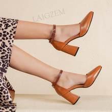 LAIGZEM femmes escarpins bout pointu bloc talons épais sandales bride à la cheville Faux cuir été 2021 chaussures femme grande taille 33 41 44 46