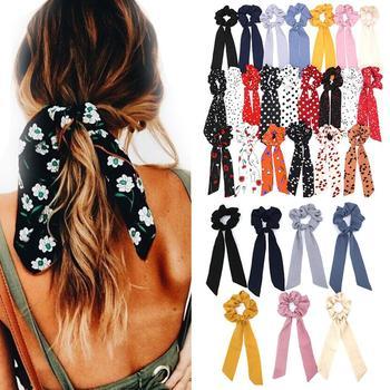 2019 Bohemian Polka Dot Floral Printed Ribbon Bow Hair Scrunchies Women Elastic Hair Band Ponytail Scarf Hair Ties Accessories