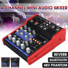 Profesional 4 Channel Bluetooth Mini Audio Mixer dengan Efek Reverb Rumah Karaoke USB Live Stage 48V Phantom Power(China)