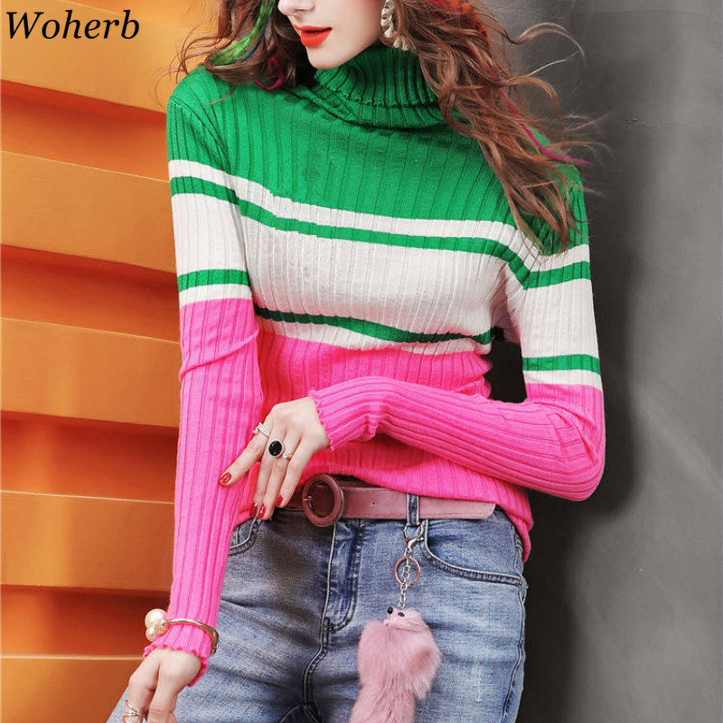 Woherb Striped Pullovers Turtleneck Long Sleeve Slim Sweaters Autumn Winter Clothes Women Korean Fashion New Pull Femme 91031