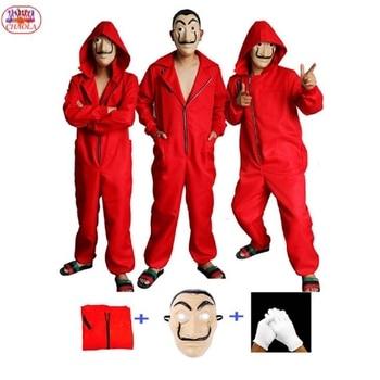 Halloween paper money house Dali cosplay ropa rojo vestido de una pieza mascara