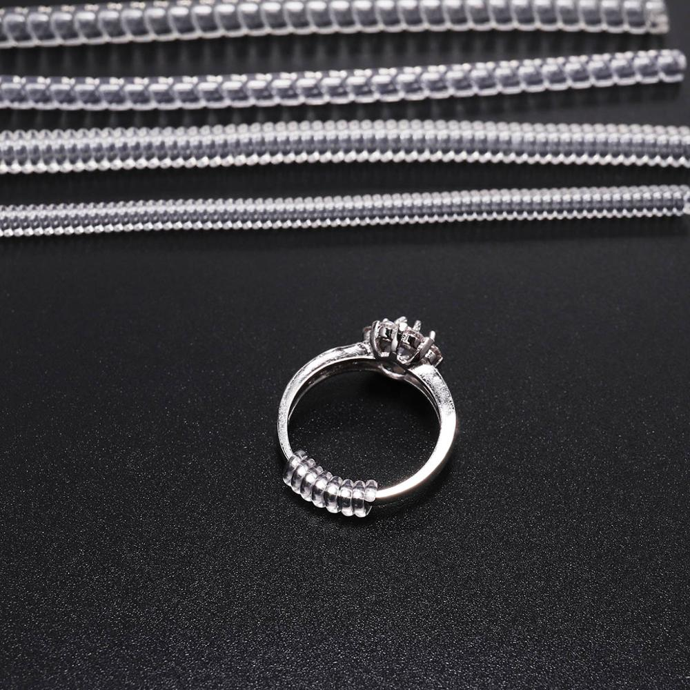 4pcs/lot Transparent Coil Spiral Based Ring Size Adjuster Guard Tightener Reducer Resizing Tools Findings Jewelry Parts Supplies