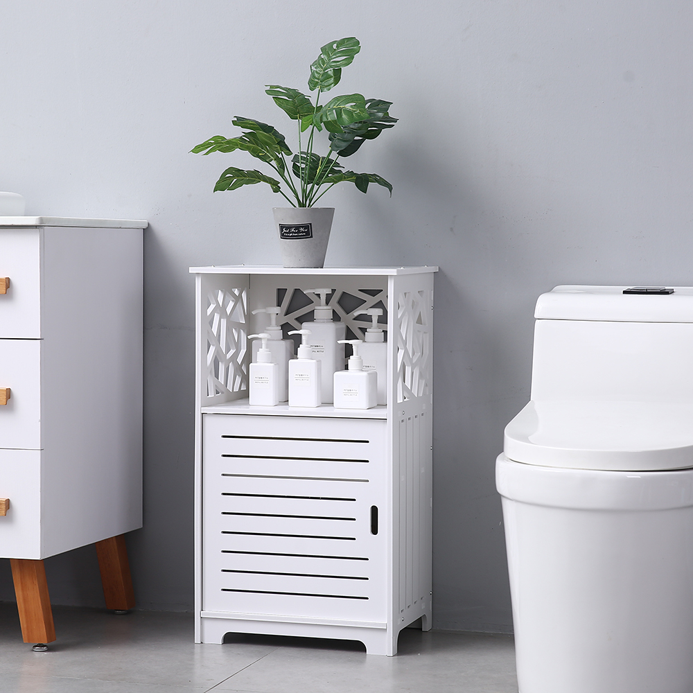 Single Door With Compartment Bathroom Storage Cabinet Bedroom Bedside Table 41x30x70cm