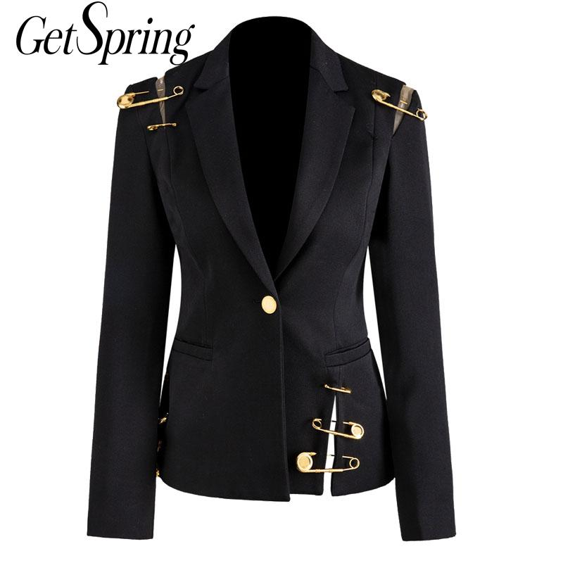GetSpring Women Blazer Jacket Coat Single Button Long Sleeve Women Suit Jacket Pin Stitching Irregular Ladies Blazer Autumn New