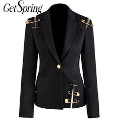 GetSpring Women Blazer Jacket Coat Single Button Long Sleeve Women Suit Jacket Pin Stitching Irregular Ladies Blazer Autumn New
