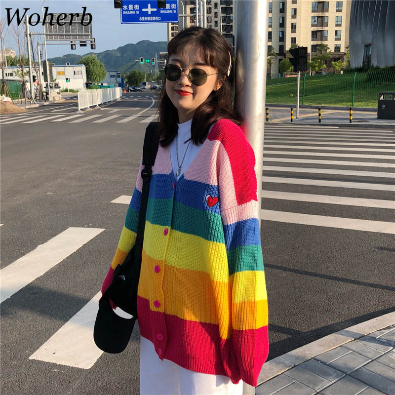 Woherb 2020 Autumn Harajuku Cardigan Women Striped Rainbow Sweater Coat Female Loose Sweaters Letter Embroidery Jumper Cardigans