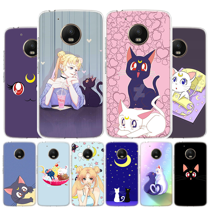 Blu-Ray Lovely Luna Cat Phone Case For Motorola Moto G8 G7 G6 G5S G5 G4 E6 E5 E4 Plus Play Power One Action X4 Cover Coque