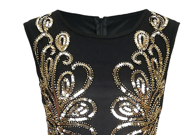 Women Vintage 1920s Great Gatsby Dress 20s Flapper Party Formal Dress Sexy O-Neck Sleeveless Beaded Sequin Mesh Mermaid Dress 3