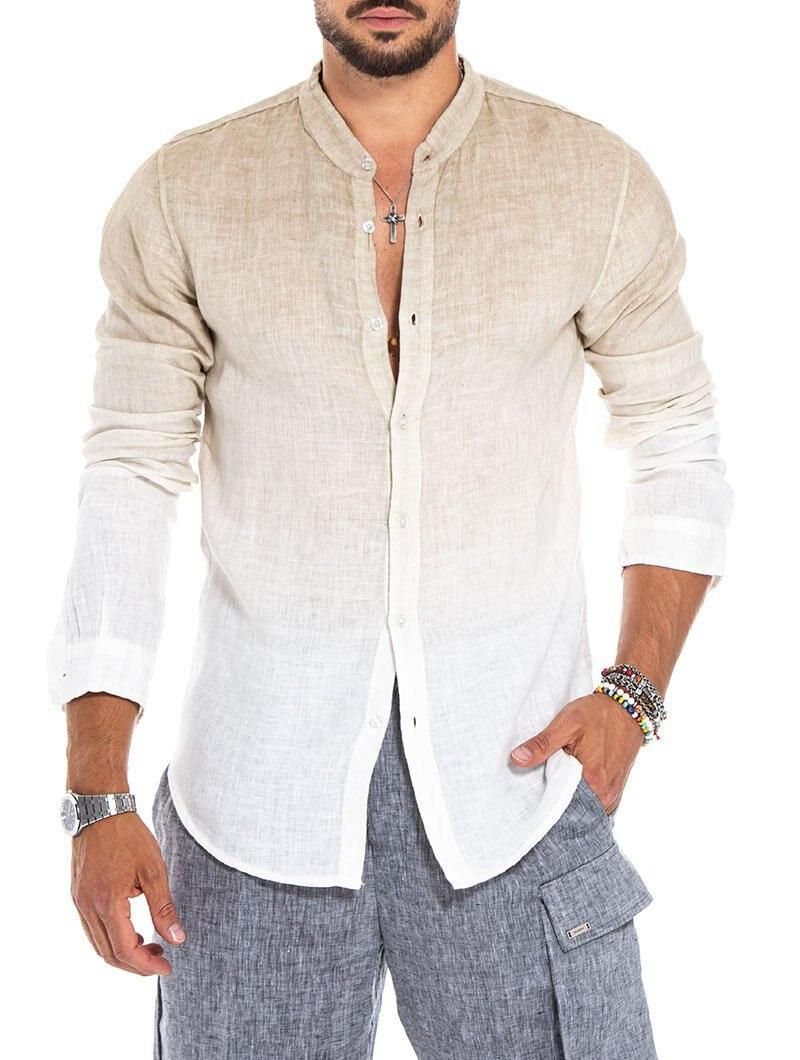 Men Linen Shirt Long Sleeve Men's Casual Shirt European-american Style Linen Gradient Long Sleeve Fashion Stand-up Collar Shirt