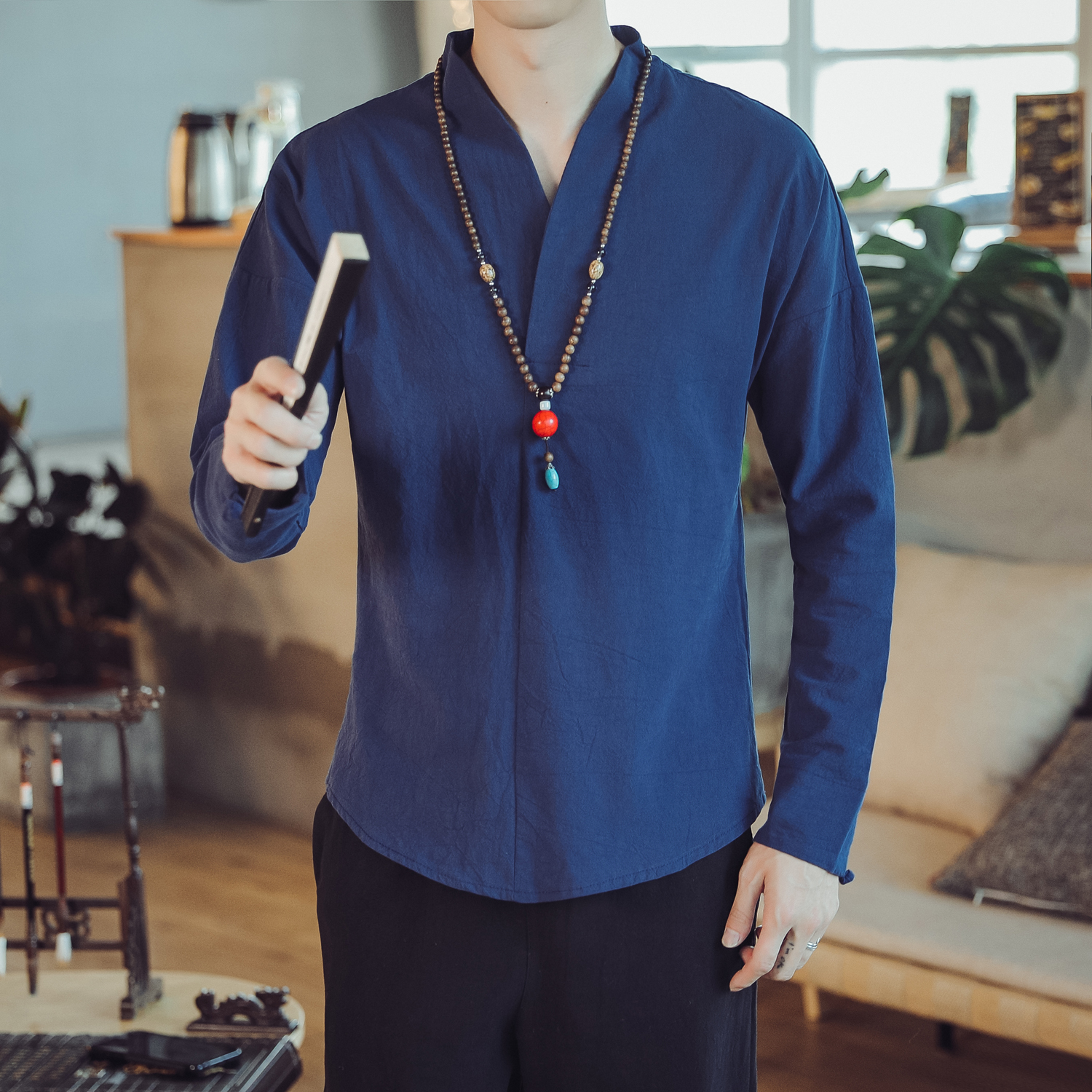 Chinese Style Kimono Men's Linen Shirts Long Sleeve Casual Blouse Shirt Male Slim Solid Color Mens Long Sleeve Autumn Shirt