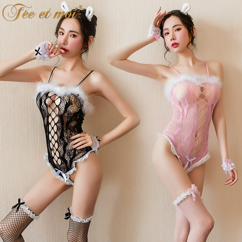 High-end woman bodysuit sexy Bunny girl lace jumpsuit suit nightclub dance uniform role-playing sex lingerie Erotic cosplay