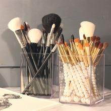 Porte pinceau de maquillage acrylique imperméable à leau maquillage brosse organisateur pinceaux de maquillage conteneur de stockage cosmétique accessoire outil fille cadeau