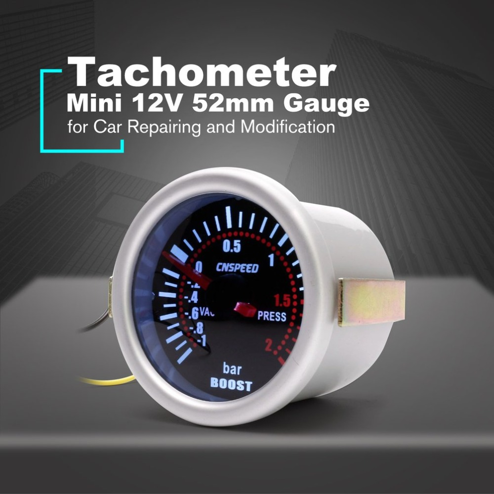 Digital Universal 52mm Car Turbo Boost Vacuum -1~2 BAR Gauge Press Pressure Gauge Pointer Meter Smoke Len LED CNSPEED YC101310