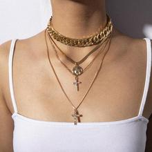 цена на Retro creative rhinestone cross necklace exaggerated punk thick chain figure multi-layer necklace