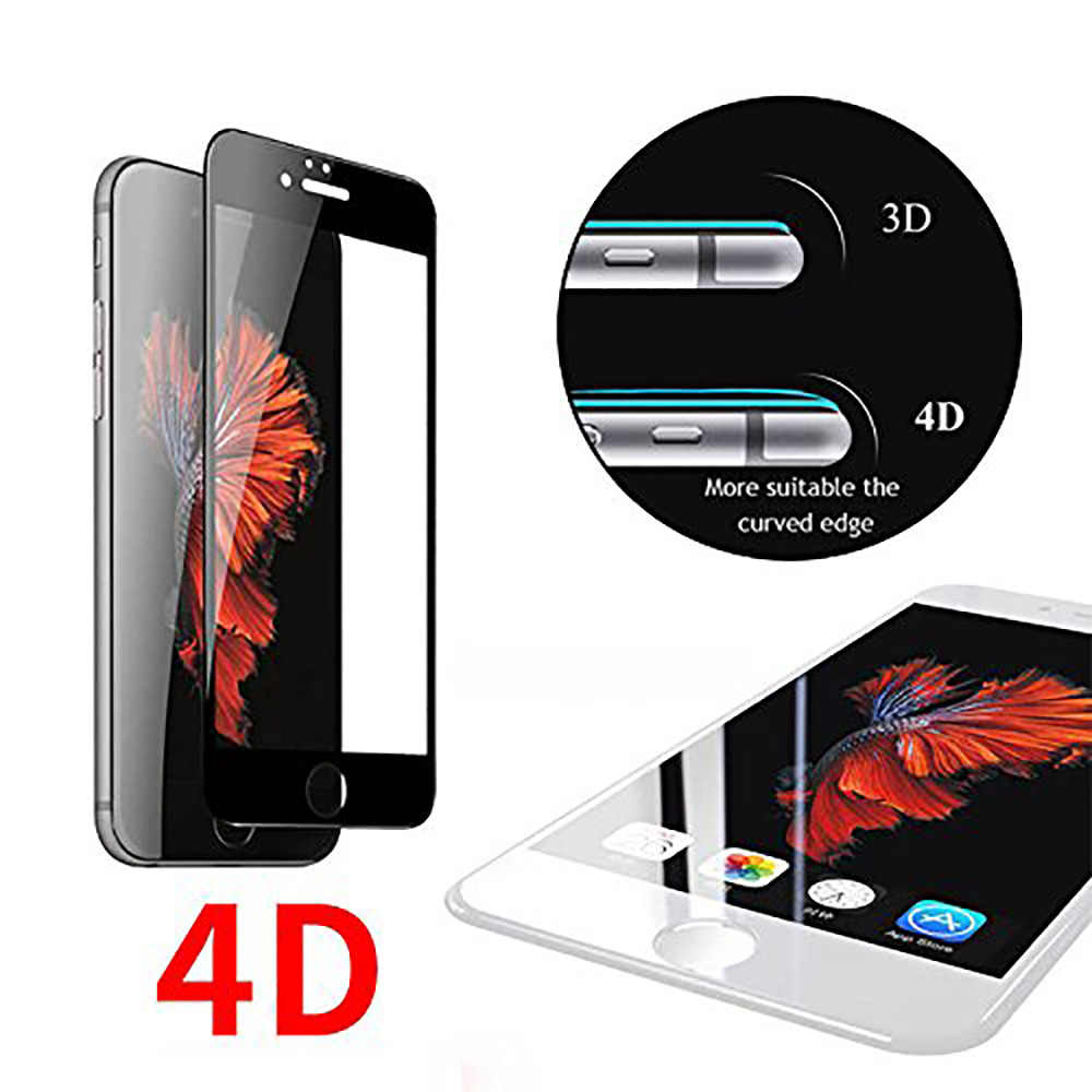 4D Full Cover 9H Tempered Glass for iPhone8 7 6 6S PLUS Soft Edge High Definition Screen Protector For iPhone 8 7 6 6S PLUS