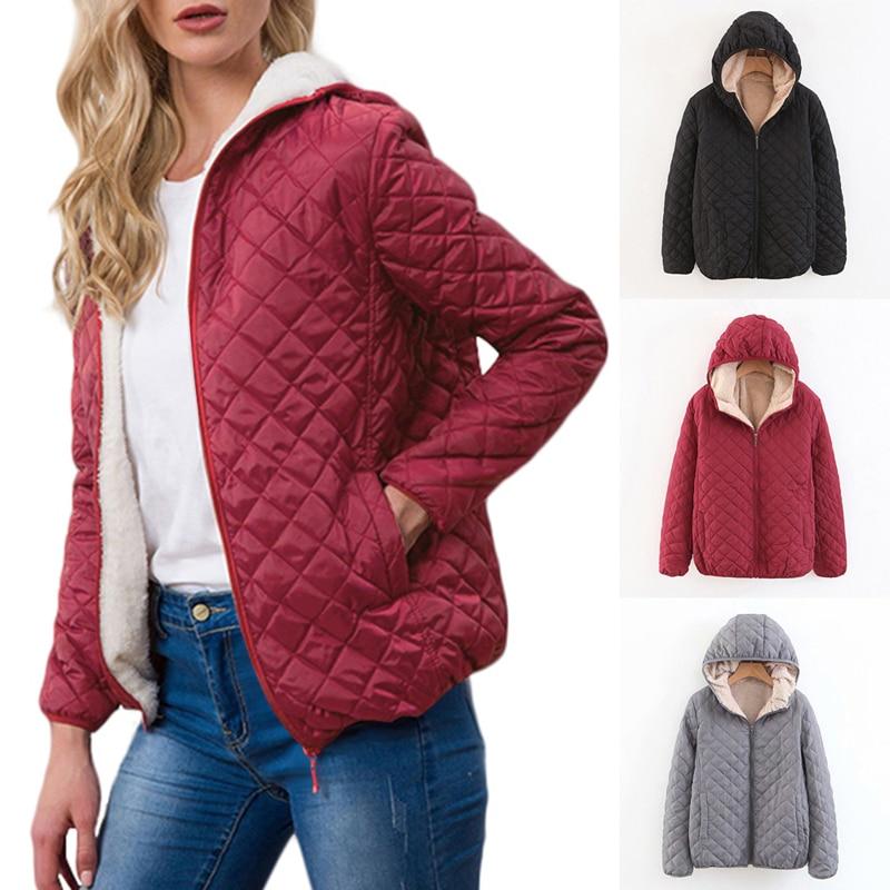 Autumn 2019 Parkas Basic Jackets Female Women Winter Plus Velvet Lamb Hooded Coats Cotton Winter Jacket Womens Outwear Coat