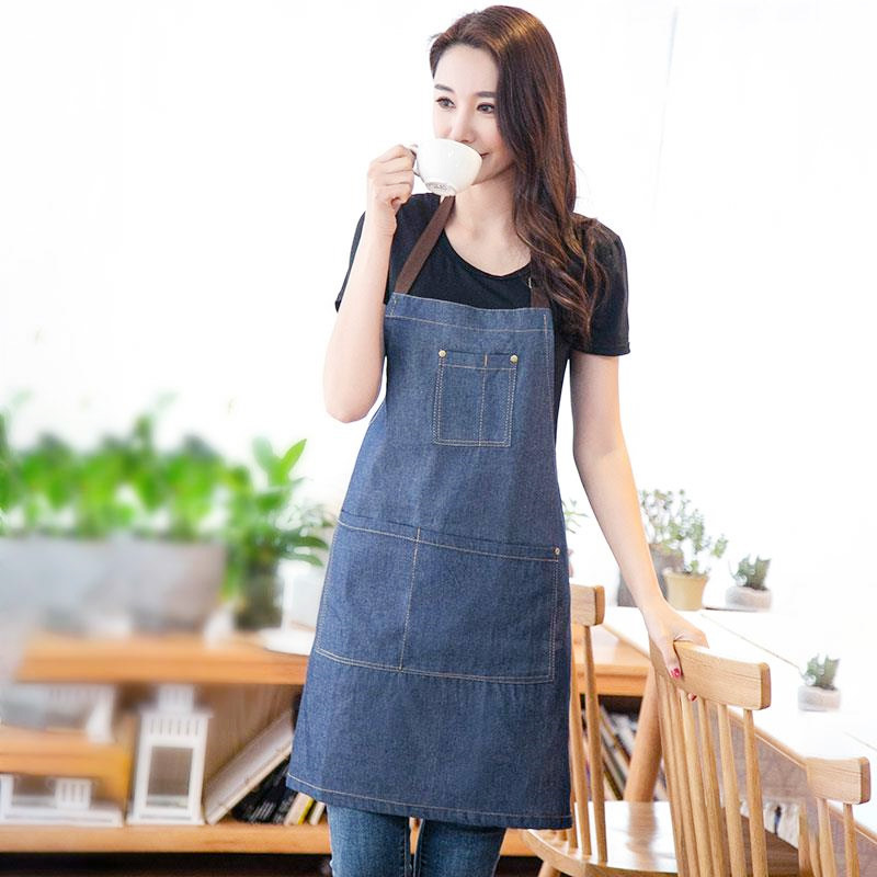 Jean Apron Northern European-Style Cafe Floral Halter Suspender Strap Cotton Apron Work Clothes Korean-style Home Restaurant Cus