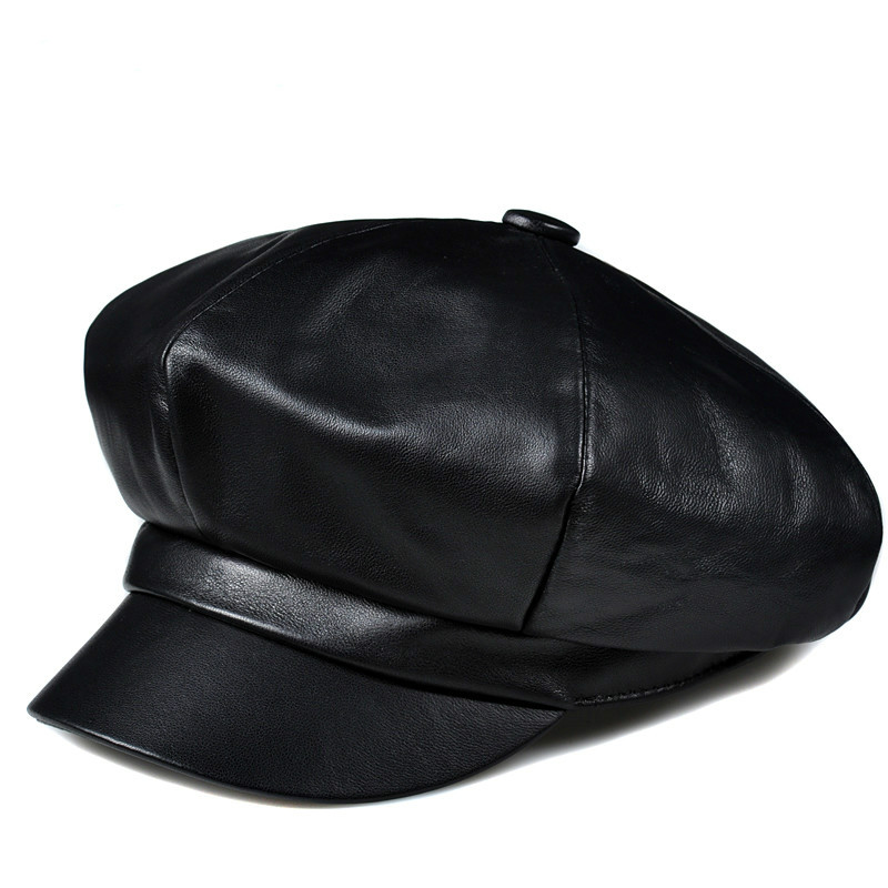HL811 Man winter genuine leather cap hat new girl student beret baseball caps hats