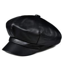 HL811 Man winter genuine leather cap hat new girl student beret baseball caps hats