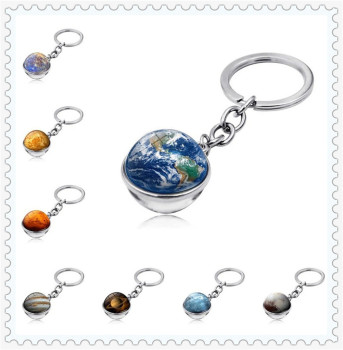 Car Keychain Glass Ball Solar System Moon Earth for Subaru R1 Pleo Baja B5-TPH Forester Ascent XV WRX VIZIV Outback VIZIV-2 image