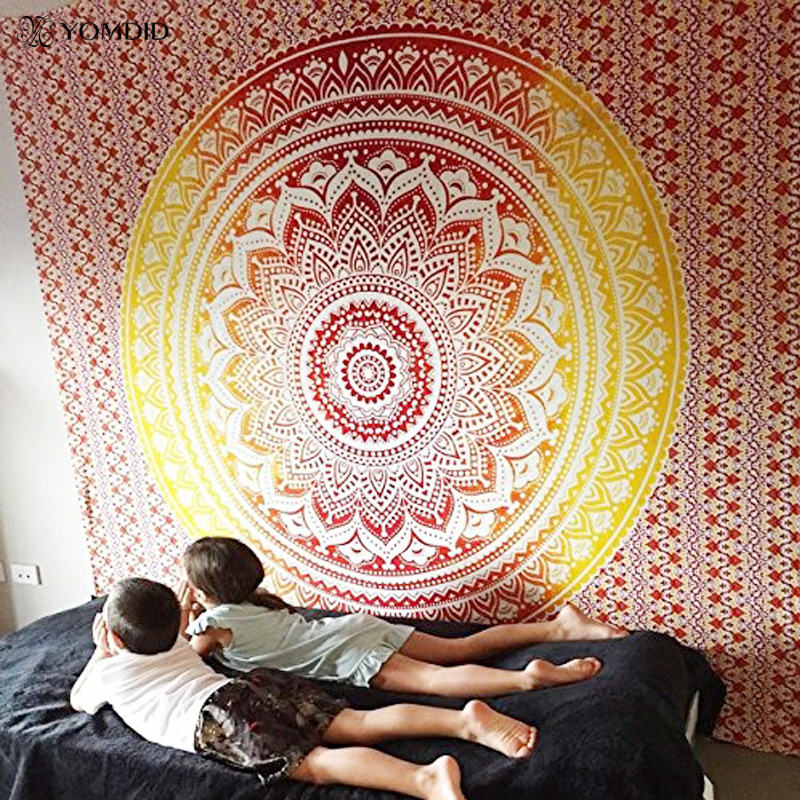 Tapiz de Mandala indio, tapiz multifuncional para colgar en la pared, tapiz tipo sábana con estampado bohemio, esterilla de Yoga, manta de Picnic