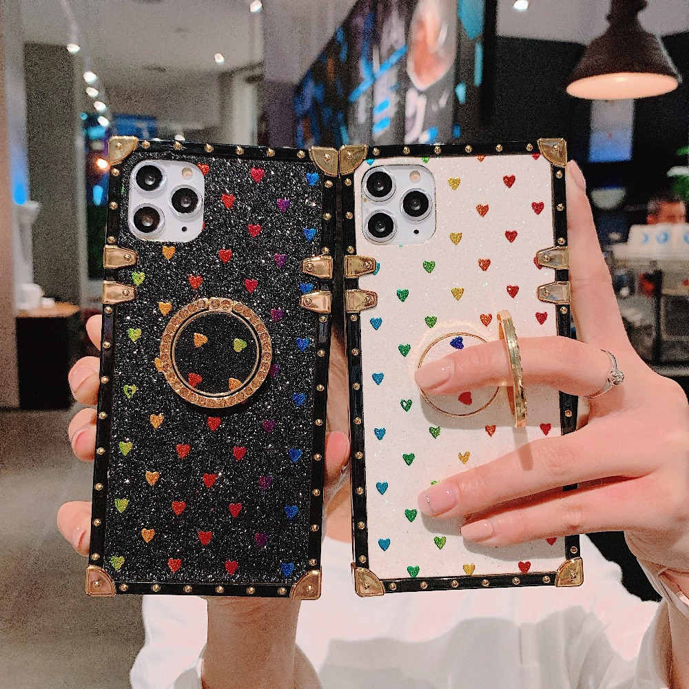 Cases For iPhone 11 Pro Max Xr Xs Max Coque Square Diamond Stand Love Heart Bling Sequins Case For iPhone X 6 6S 7 8 Plus Cover (5)