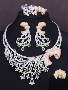 GODKI Bracelet Earrings Jewelry-Set Necklace Wedding Bridal Luxury Resizable-Ring Dubai
