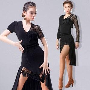 Image 1 - 2018 nuevo vestido de baile latino de moda para mujeres/señora International Standard salón Cha Salsa Dancing vestidos de Latina DL2558