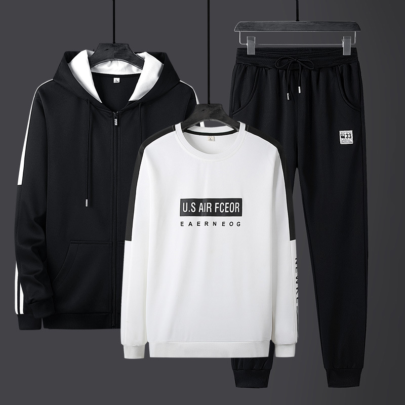 Large Size Men'S Wear Spring And Autumn Men Casual Sports Hoodie Set Teenager Students Round Neck Sweater Trousers Three-piece S