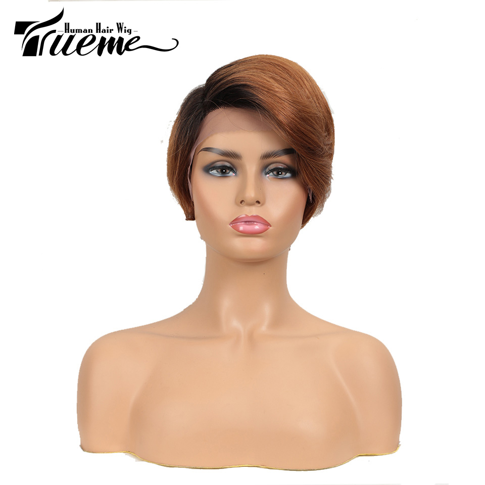 Trueme L Part Lace Front Human Hair Wigs For Women 100% Remy Brazilian Short Hair Nature Wave Wigs For Ladies Lace Front Wigs