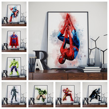 Decoración de pared para el hogar acuarela cartel de Marvel d. C. Superhéroe Iron Man Hulk Spider-Man Batman lienzo pintura sin marco o114(China)
