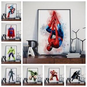 Home wall decoration watercolor poster Marvel DC superhero Iron Man Hulk SpiderMan Batman canvas painting No Frame o114(China)