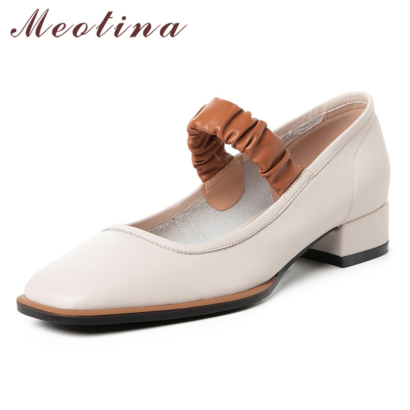 Meotina High Heels Women Shoes Natural Genuine Leather Thick Heels Mary Janes Shoes Real Leather Square Toe Pumps Female Size 39