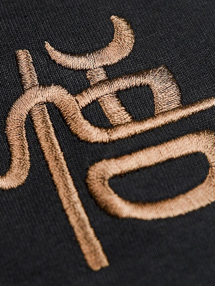 Золотая вышивка уличная одежда свободный крой скейтборд Мальчик скейт Футболка 100% хлопок мужские рок хип хоп Модные топы - 4