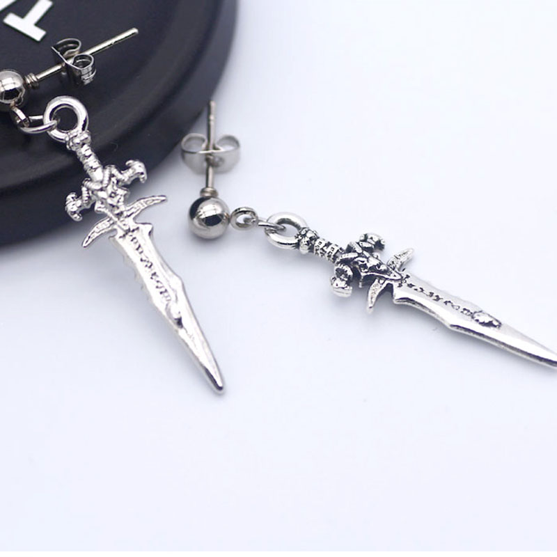 Vintage gothic sword <font><b>earrings</b></font> <font><b>for</b></font> <font><b>men</b></font> <font><b>unisex</b></font> punk korean <font><b>earrings</b></font> fashion 2020 image