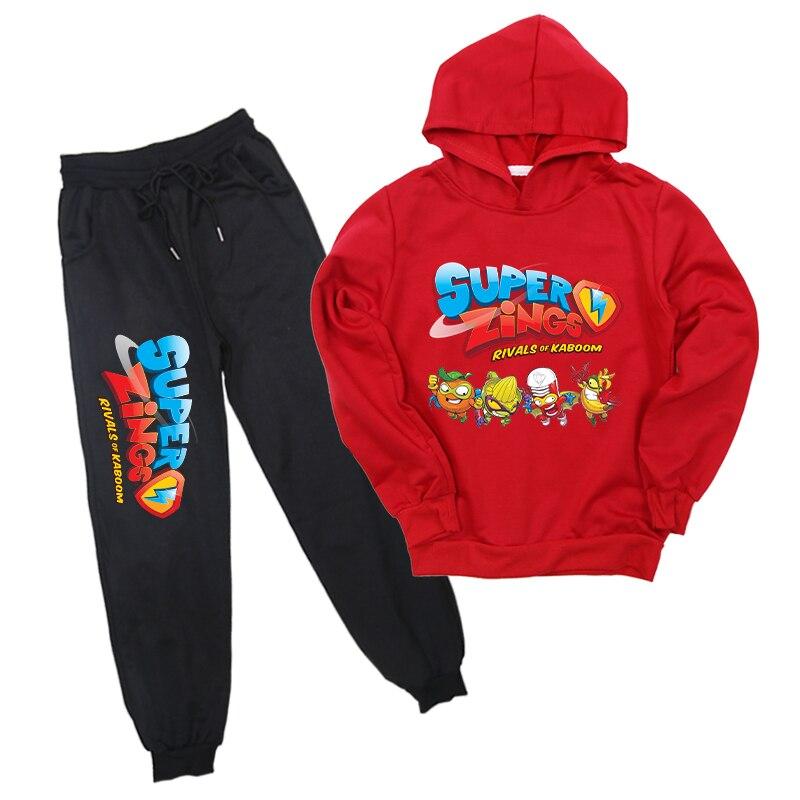 De супер Zings 4 Принт Superzings детские для мальчиков и девочек, состоящие из кофты с капюшоном и штанов, костюм с кофтой 2 шт./компл. для бега Штаны к...