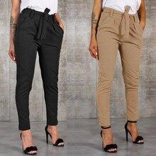 Модные женские шаровары с высокой талией, женские повседневные штаны в полоску с эластичной резинкой на талии
