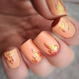 Image 2 - Geboren Pretty Fire Nail Stempelen Platen Blaze Serie Rechthoek Template Nail Art Image Plate Exotisme Stencils