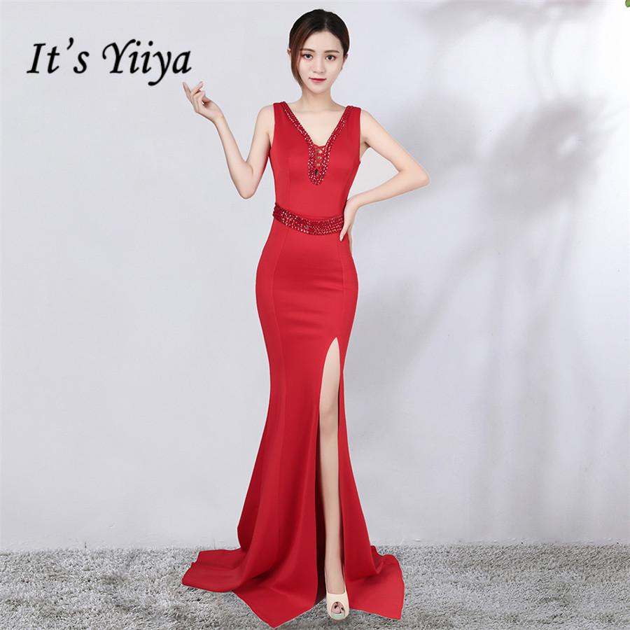 Red Evening Gown It's Yiiya DX380 Floor-Length Split Mermaid Evening Dress Plus Size Crystal V-Neck Sleeveless Robe De Soiree