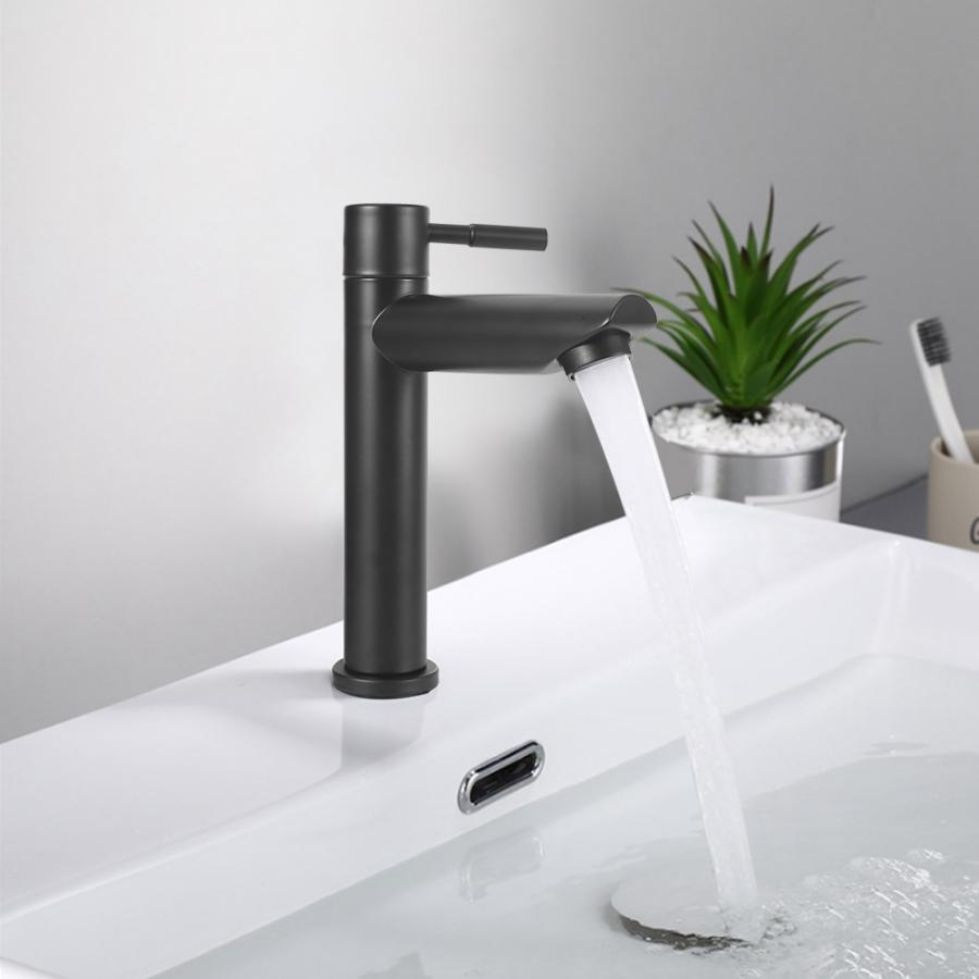 Household Bathroom Stainless Steel Black Basin Faucet Single Cold Water Tap Male Thread G1/2in Widen Waterfall Type Sink FaucetBasin Faucets   -