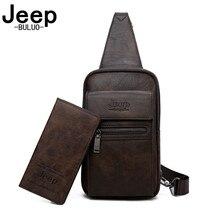 JEEP BULUO yüksek kaliteli bölünmüş deri omuz Crossbody çanta erkekler göğüs çanta genç adam için ünlü marka askılı çanta