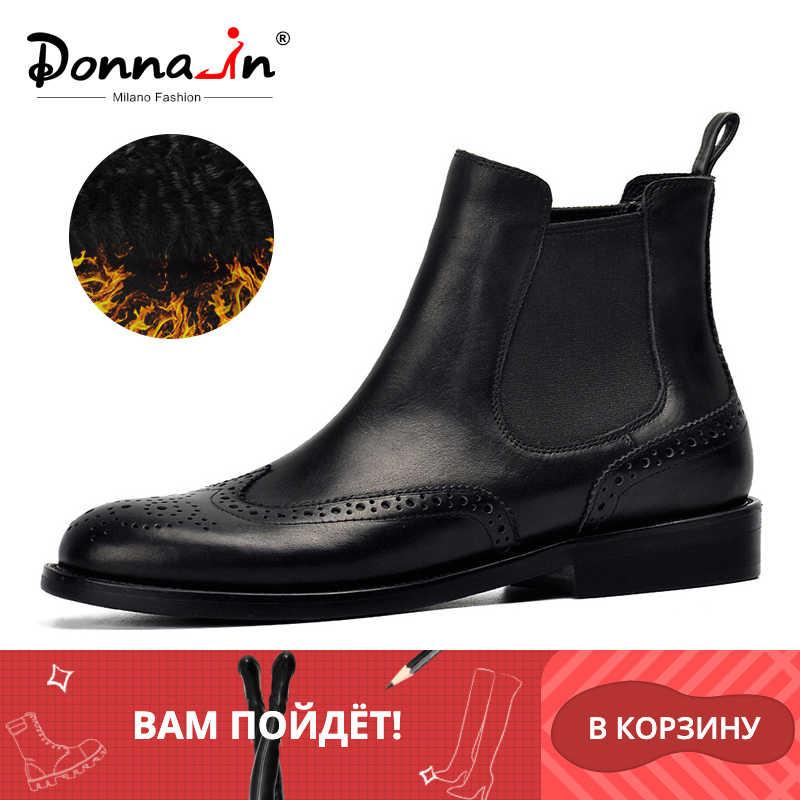 Donna-en las mujeres de cuero genuino botas brogue tallado tobillo botas de moda Chelsea tacón bajo señora zapatos de Otoño de 2019, zapatos de las señoras